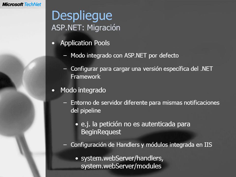 Despliegue ASP.NET: Migración