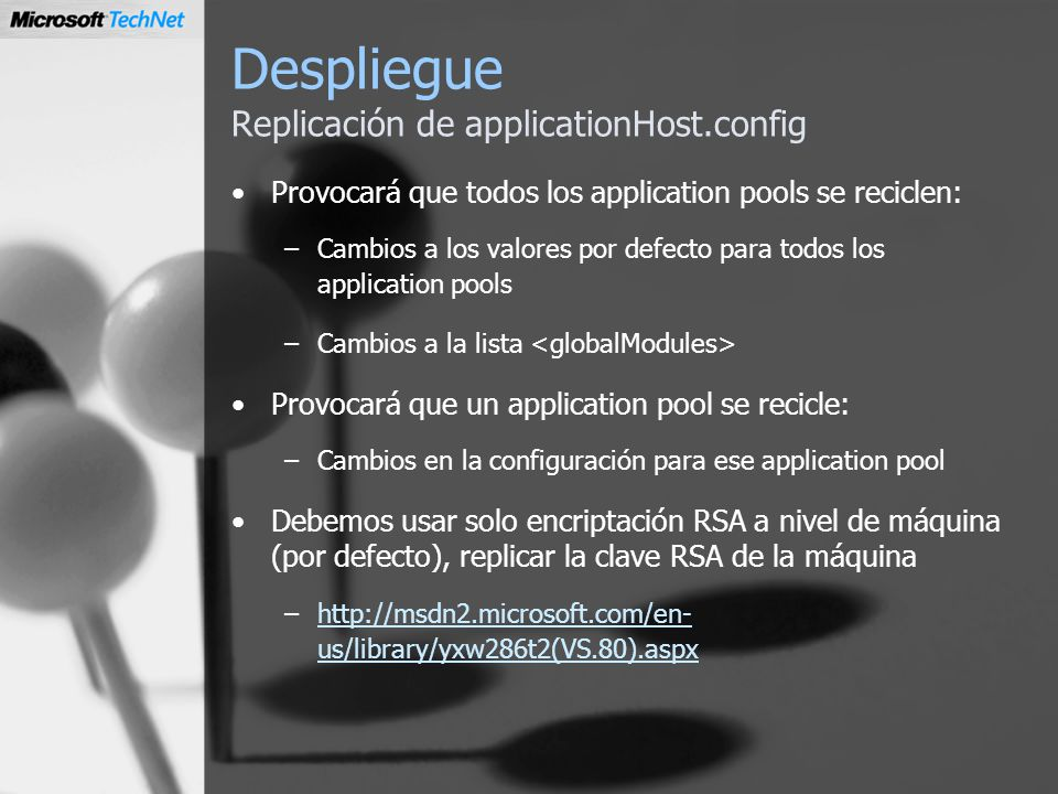 Despliegue Replicación de applicationHost.config