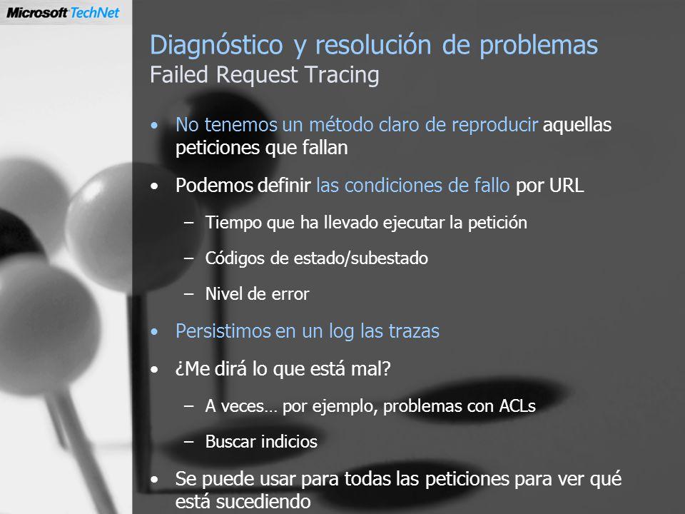 Diagnóstico y resolución de problemas Failed Request Tracing