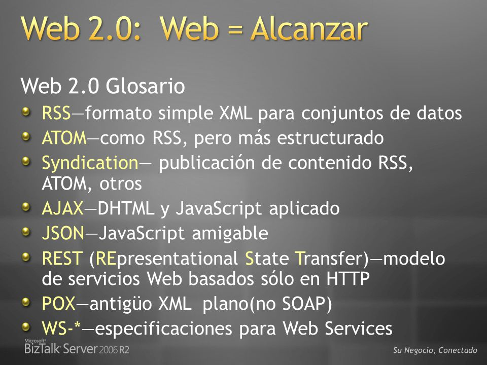 Web 2.0: Web = Alcanzar Web 2.0 Glosario