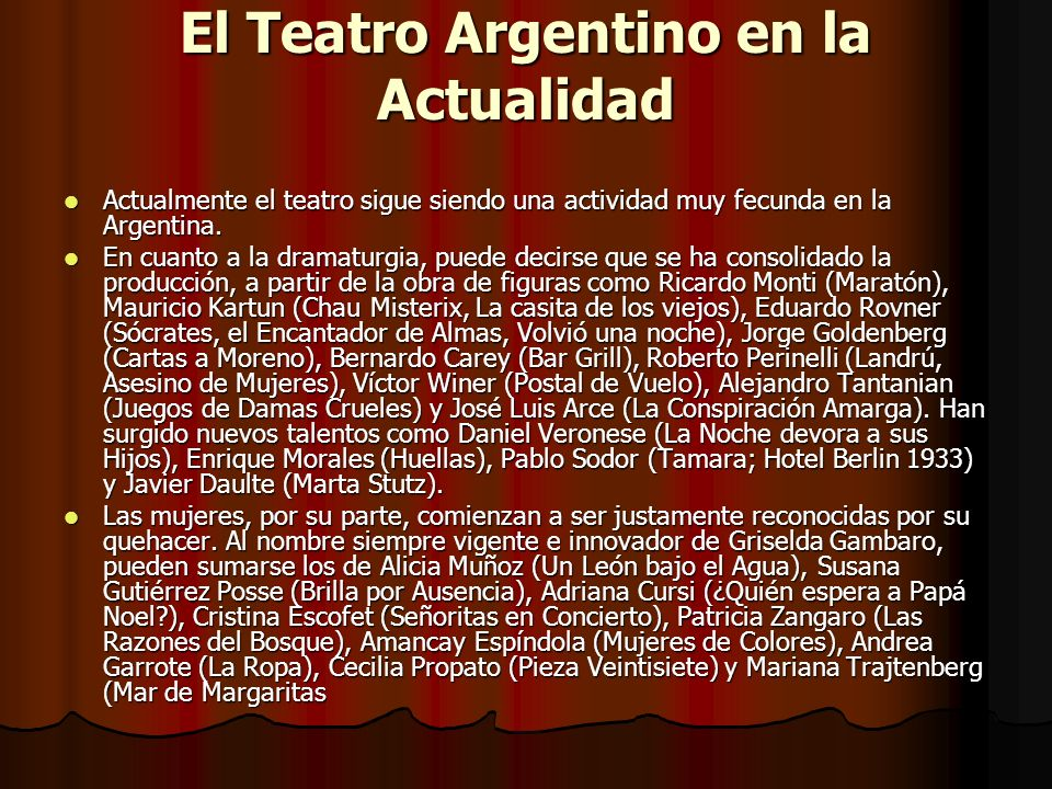 El Teatro Argentino en la Actualidad