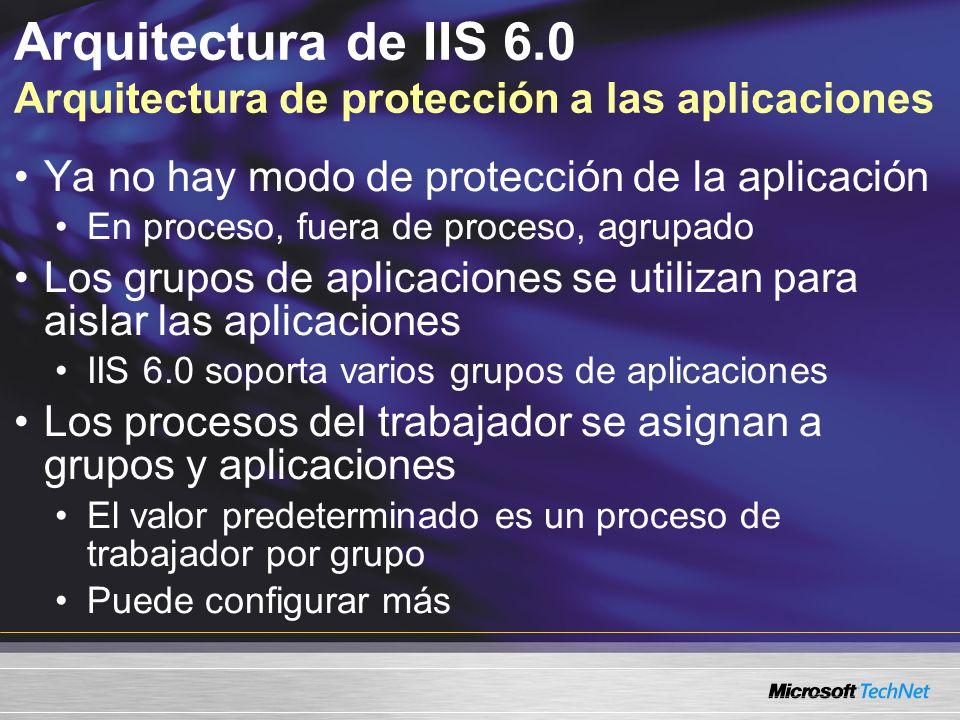 Arquitectura de IIS 6.0 Arquitectura de protección a las aplicaciones