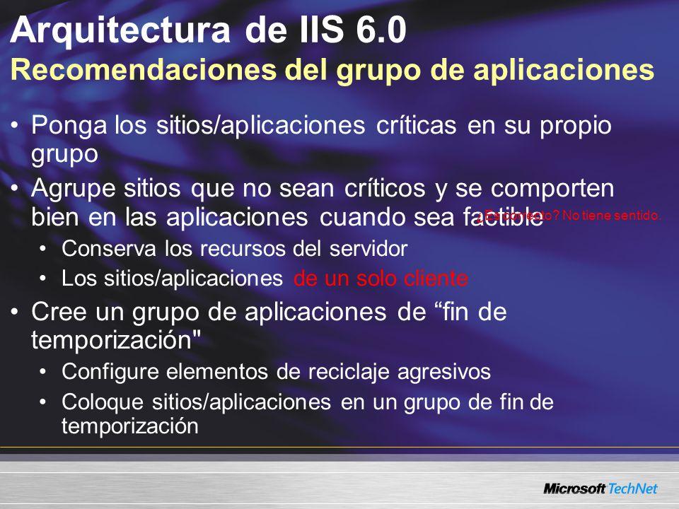 Arquitectura de IIS 6.0 Recomendaciones del grupo de aplicaciones