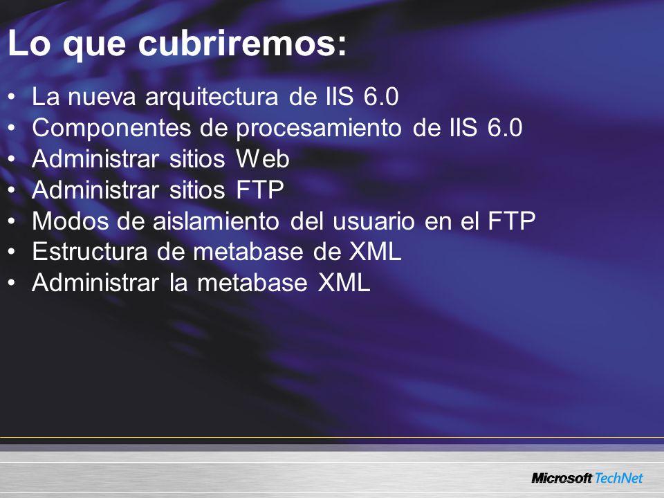 Lo que cubriremos: La nueva arquitectura de IIS 6.0