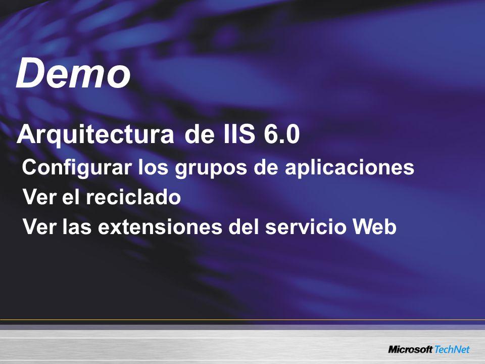Demo Arquitectura de IIS 6.0 Ver el reciclado