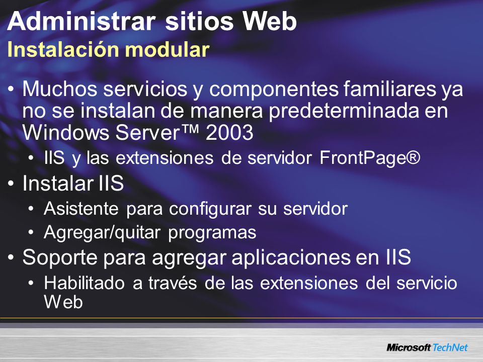 Administrar sitios Web Instalación modular