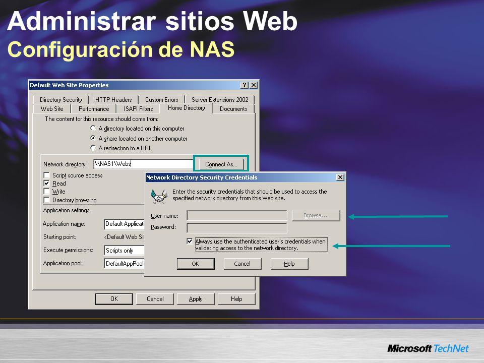 Administrar sitios Web Configuración de NAS