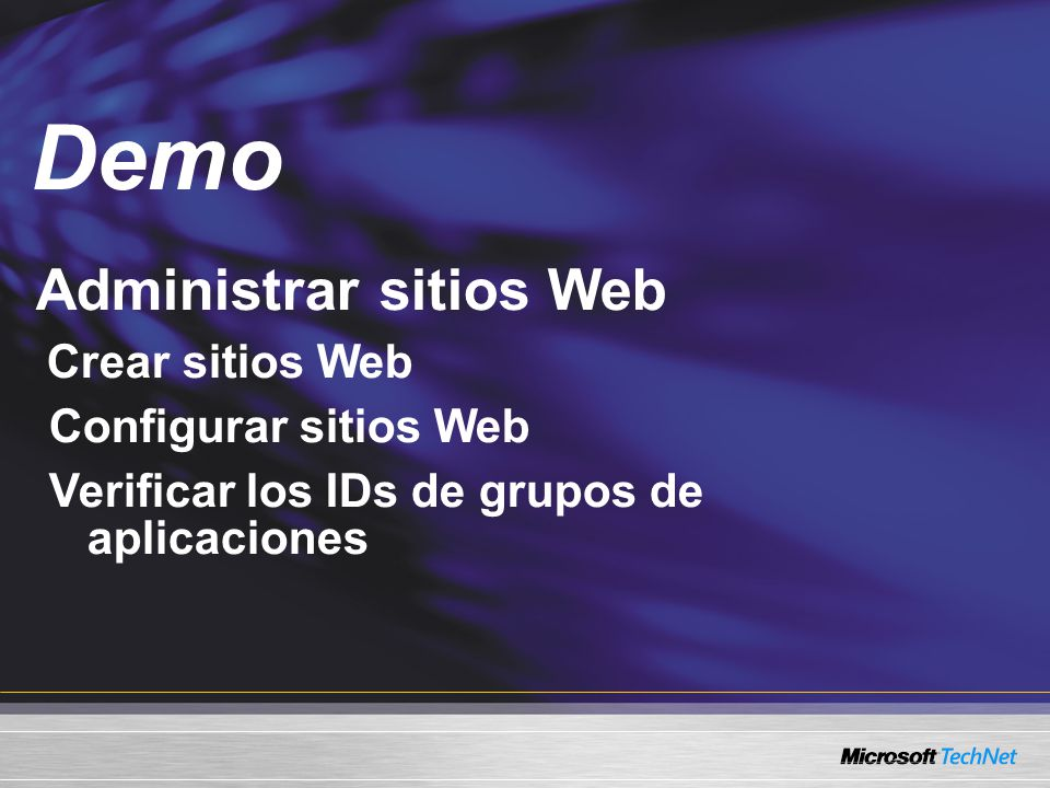 Demo Administrar sitios Web Configurar sitios Web