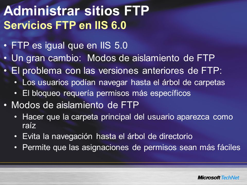 Administrar sitios FTP Servicios FTP en IIS 6.0