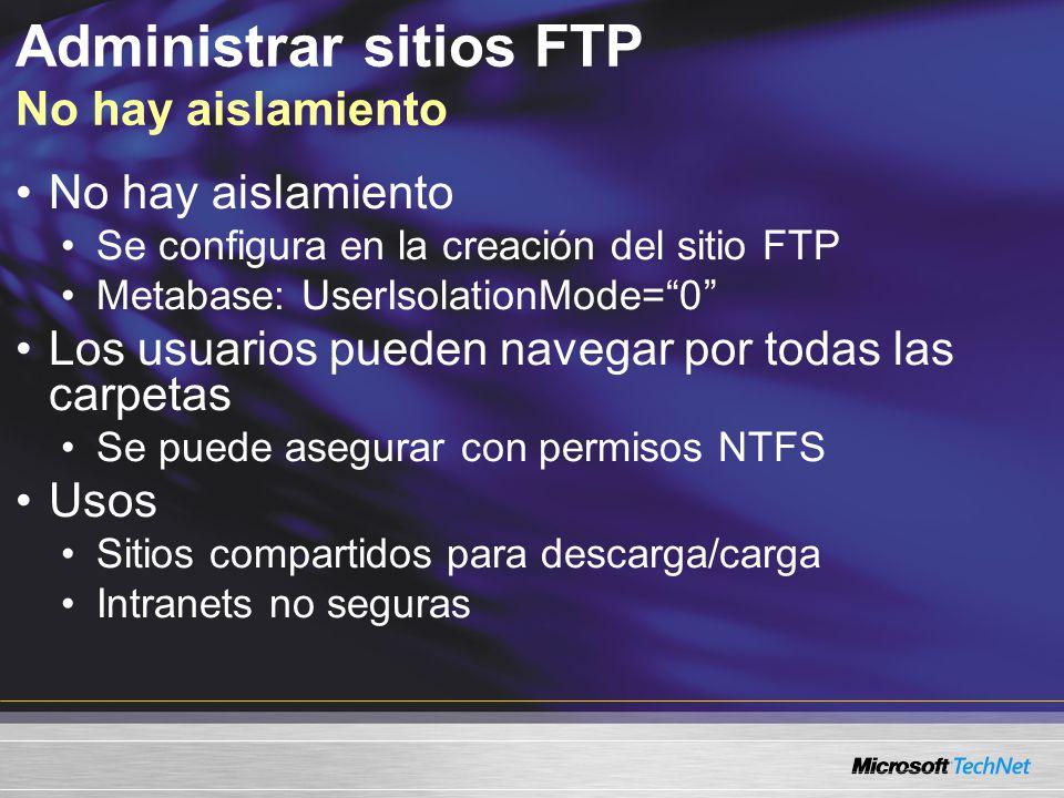 Administrar sitios FTP No hay aislamiento