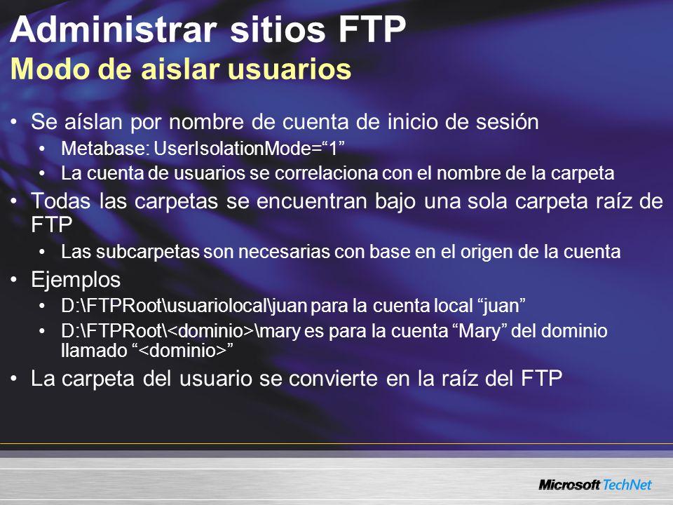 Administrar sitios FTP Modo de aislar usuarios