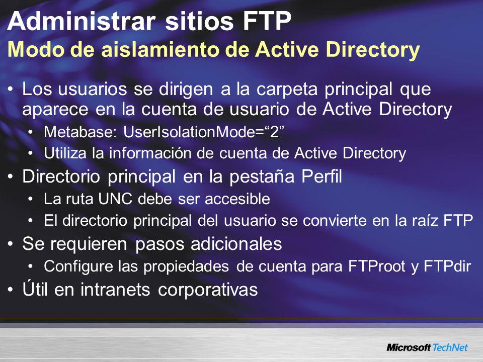 Administrar sitios FTP Modo de aislamiento de Active Directory