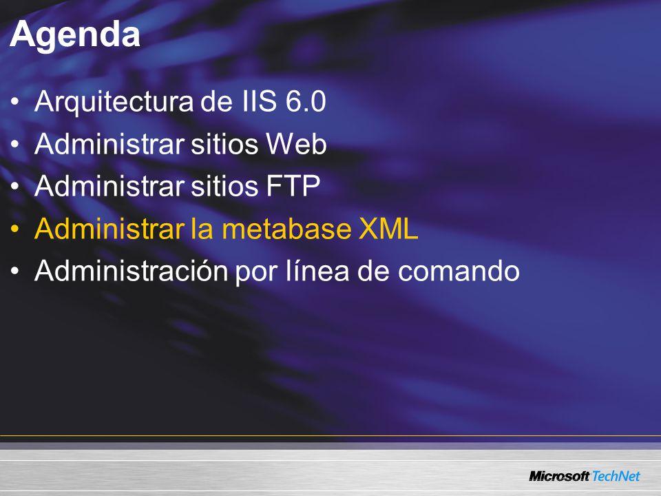 Agenda Arquitectura de IIS 6.0 Administrar sitios Web