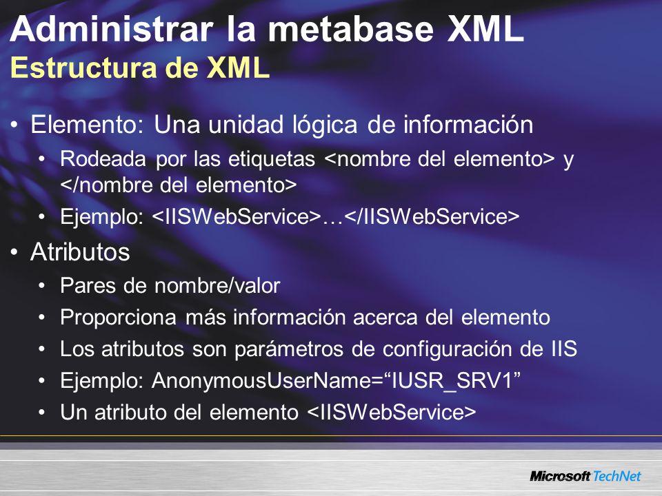Administrar la metabase XML Estructura de XML