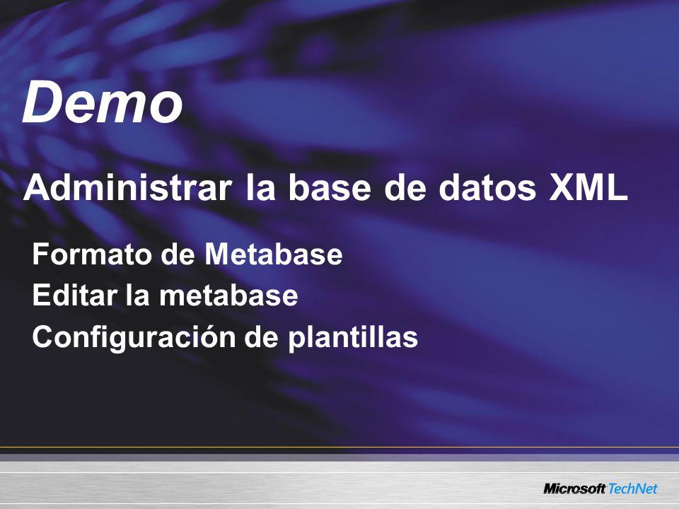Demo Administrar la base de datos XML Formato de Metabase