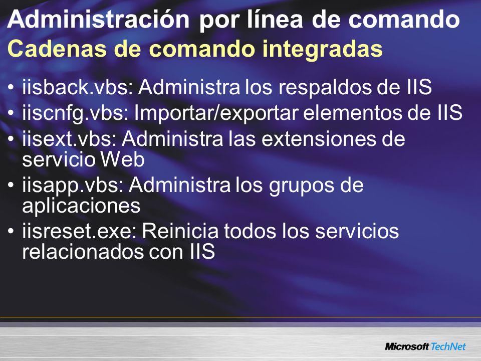Administración por línea de comando Cadenas de comando integradas
