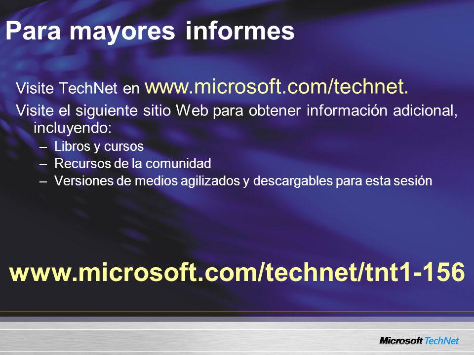 Para mayores informes www.microsoft.com/technet/tnt1-156