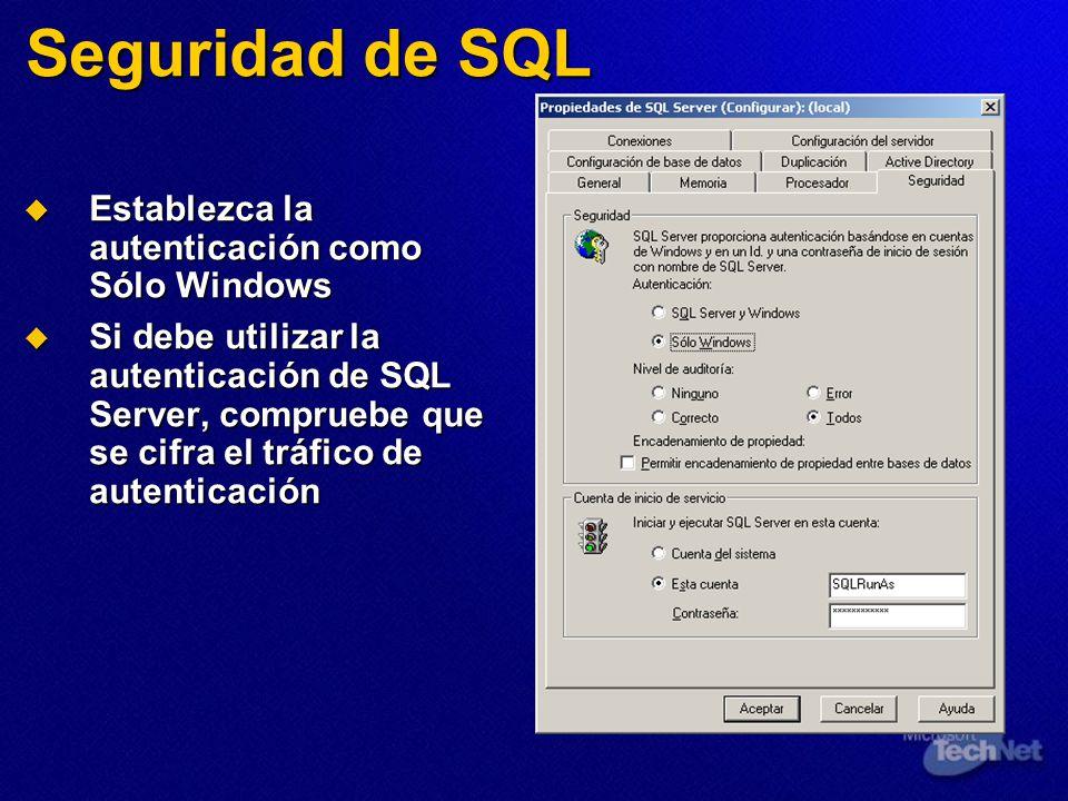 Seguridad de SQL Establezca la autenticación como Sólo Windows