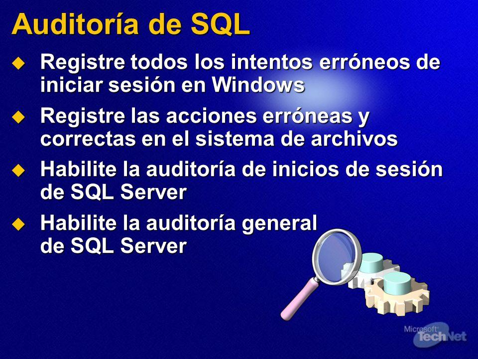 Auditoría de SQL Registre todos los intentos erróneos de iniciar sesión en Windows.