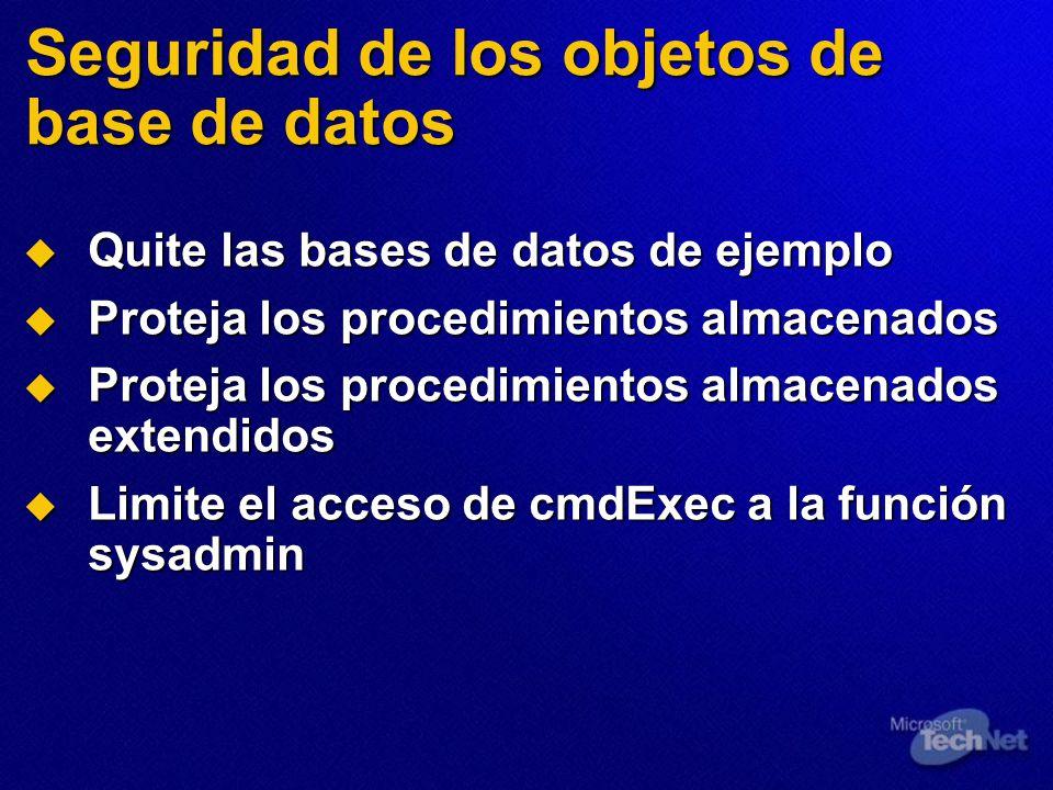 Seguridad de los objetos de base de datos