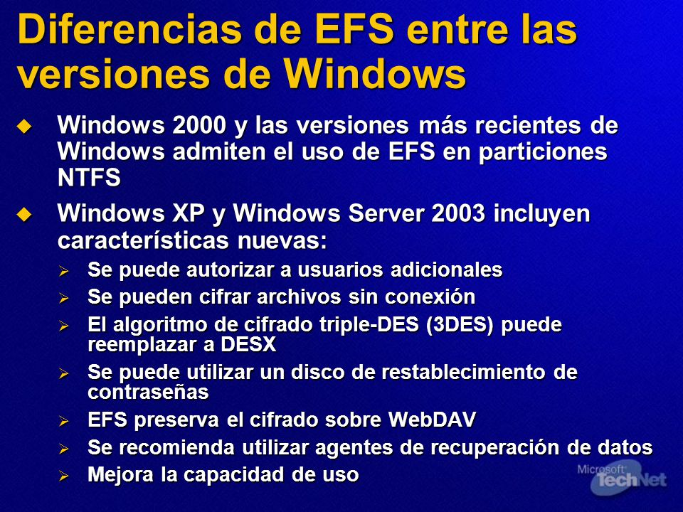 Diferencias de EFS entre las versiones de Windows