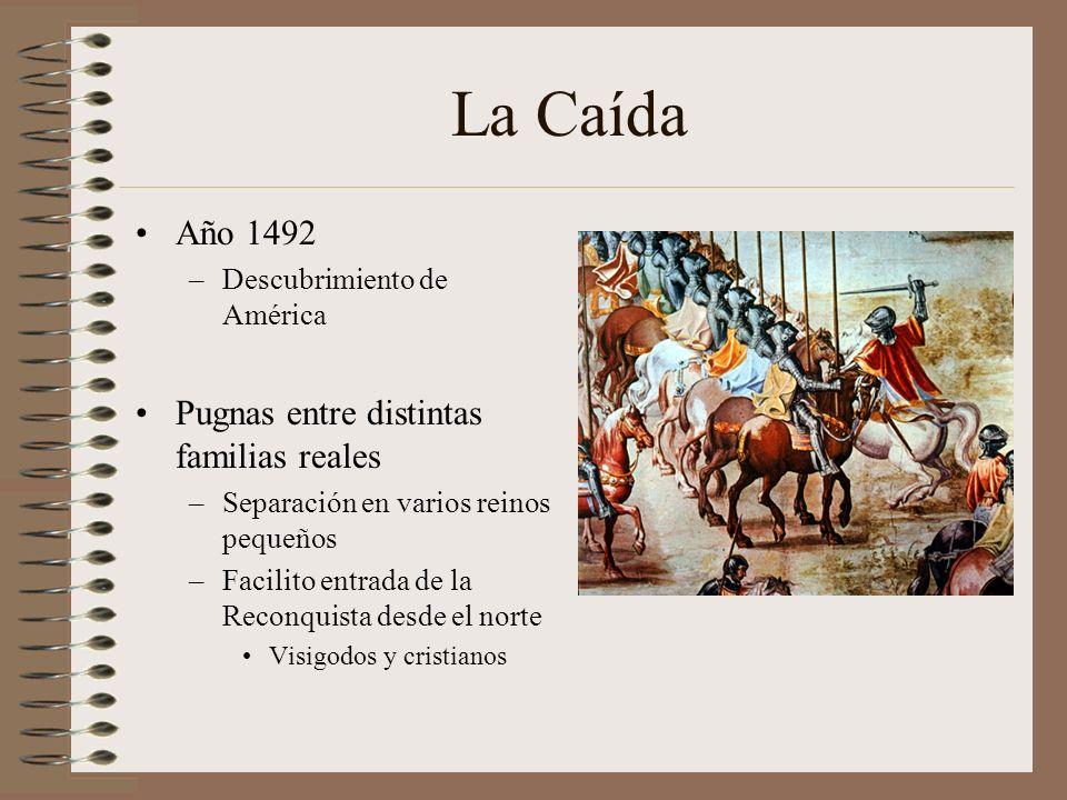 La Caída Año 1492 Pugnas entre distintas familias reales