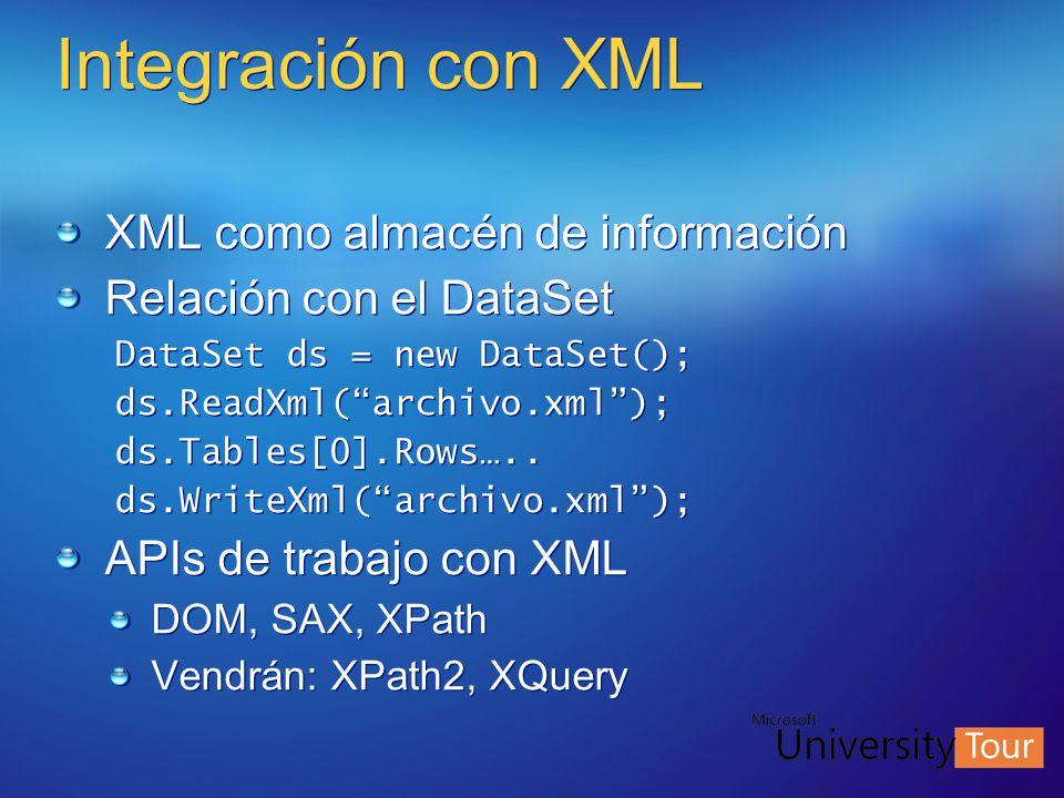 Integración con XML XML como almacén de información