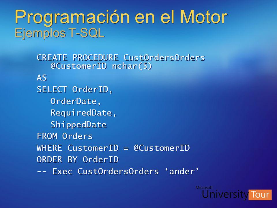 Programación en el Motor Ejemplos T-SQL