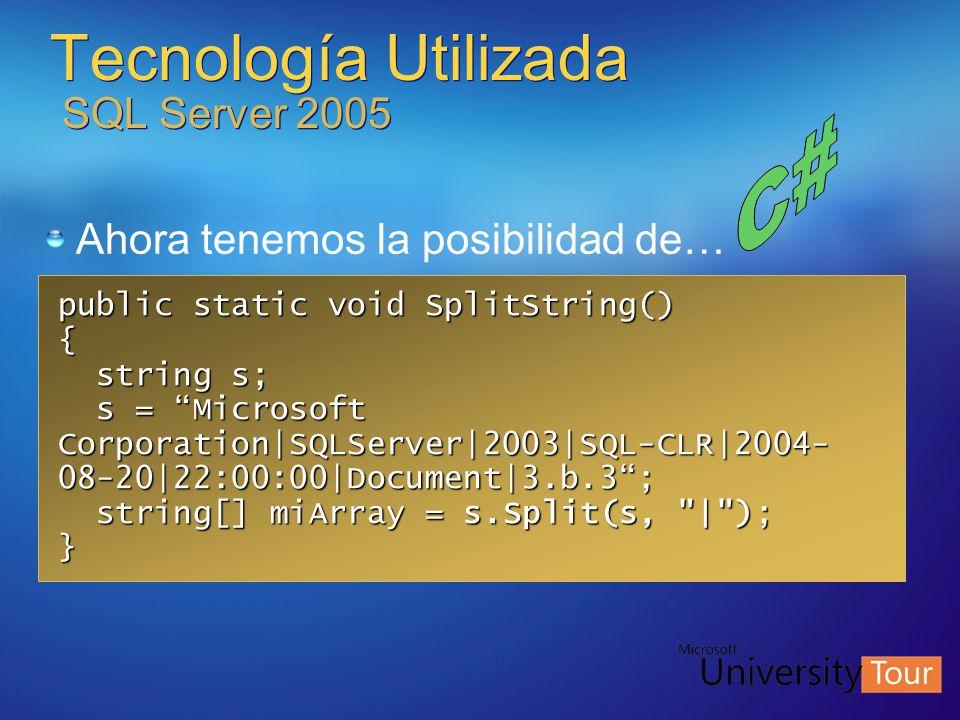 Tecnología Utilizada SQL Server 2005