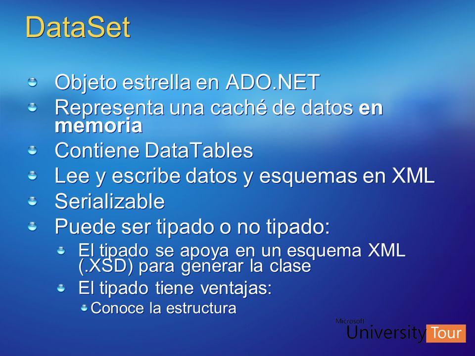 DataSet Objeto estrella en ADO.NET