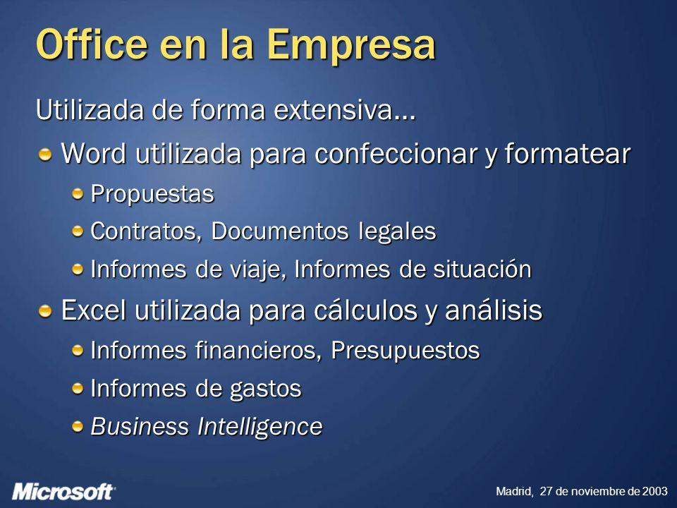 Office en la Empresa Utilizada de forma extensiva...