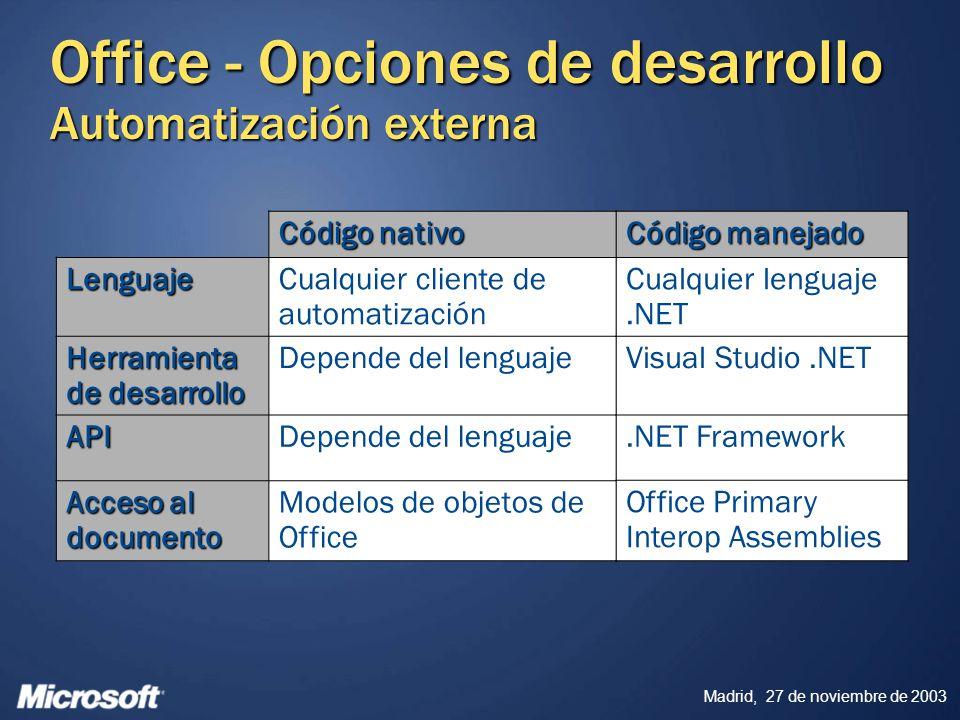 Office - Opciones de desarrollo Automatización externa