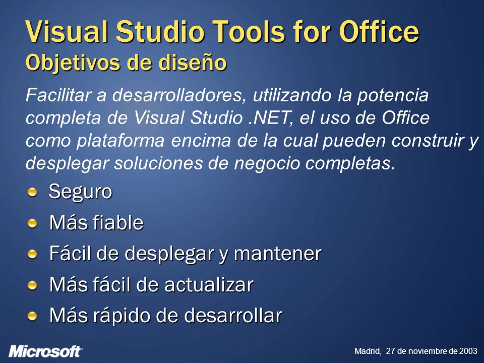 Visual Studio Tools for Office Objetivos de diseño