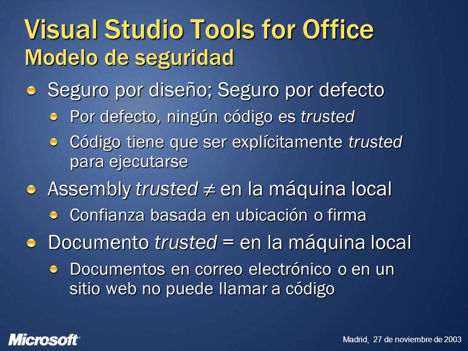 Visual Studio Tools for Office Modelo de seguridad