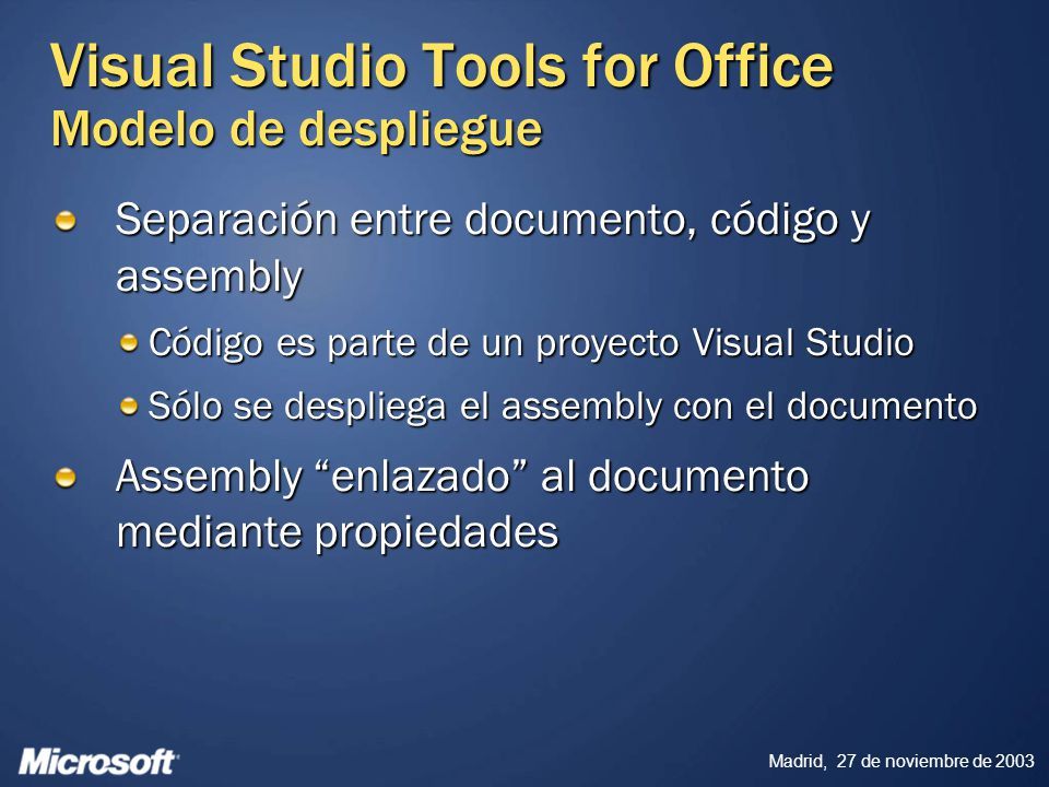 Visual Studio Tools for Office Modelo de despliegue