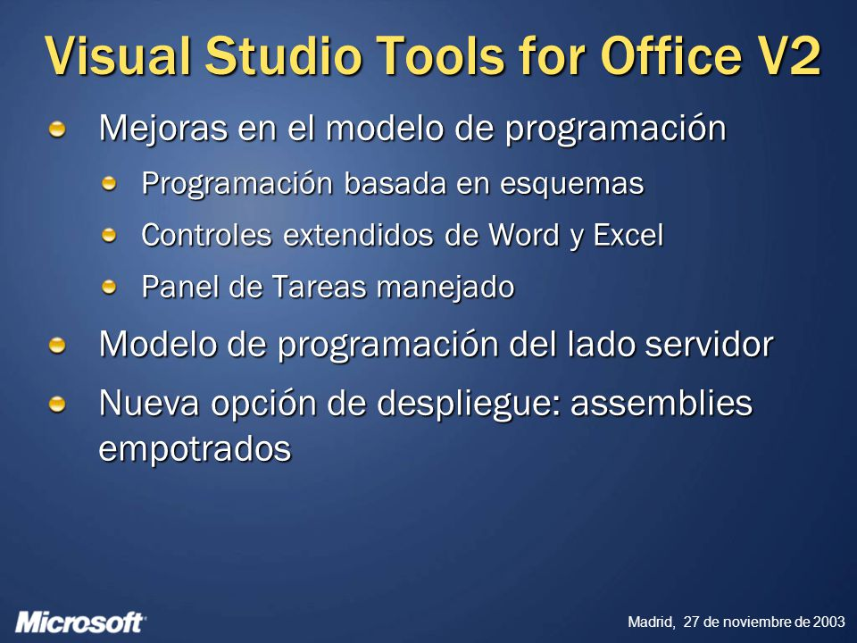 Visual Studio Tools for Office V2