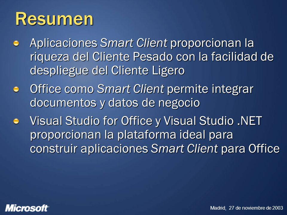 Resumen Aplicaciones Smart Client proporcionan la riqueza del Cliente Pesado con la facilidad de despliegue del Cliente Ligero.