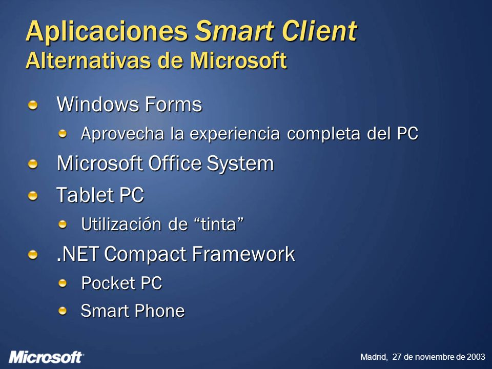 Aplicaciones Smart Client Alternativas de Microsoft