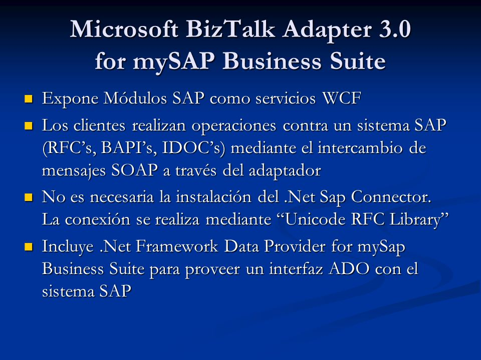 Microsoft BizTalk Adapter 3.0 for mySAP Business Suite