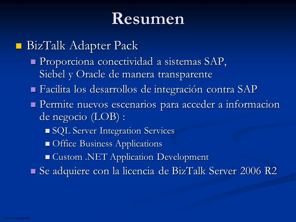 Resumen BizTalk Adapter Pack