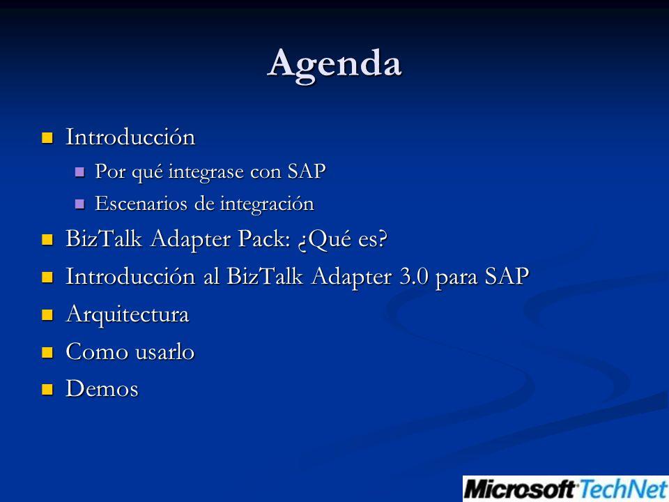 Agenda Introducción BizTalk Adapter Pack: ¿Qué es