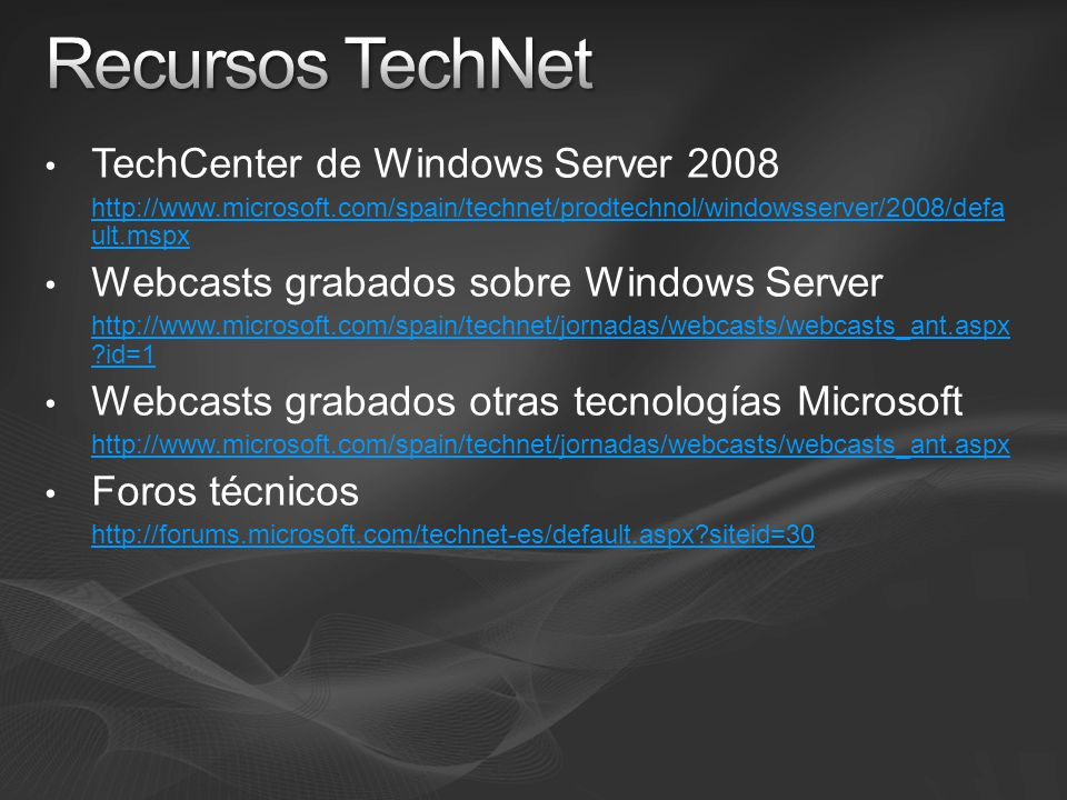 Recursos TechNet TechCenter de Windows Server 2008