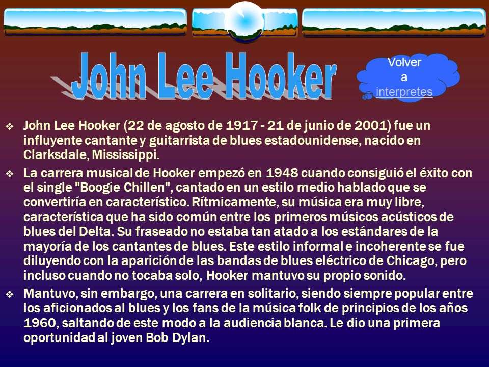 John Lee HookerVolver a interpretes.