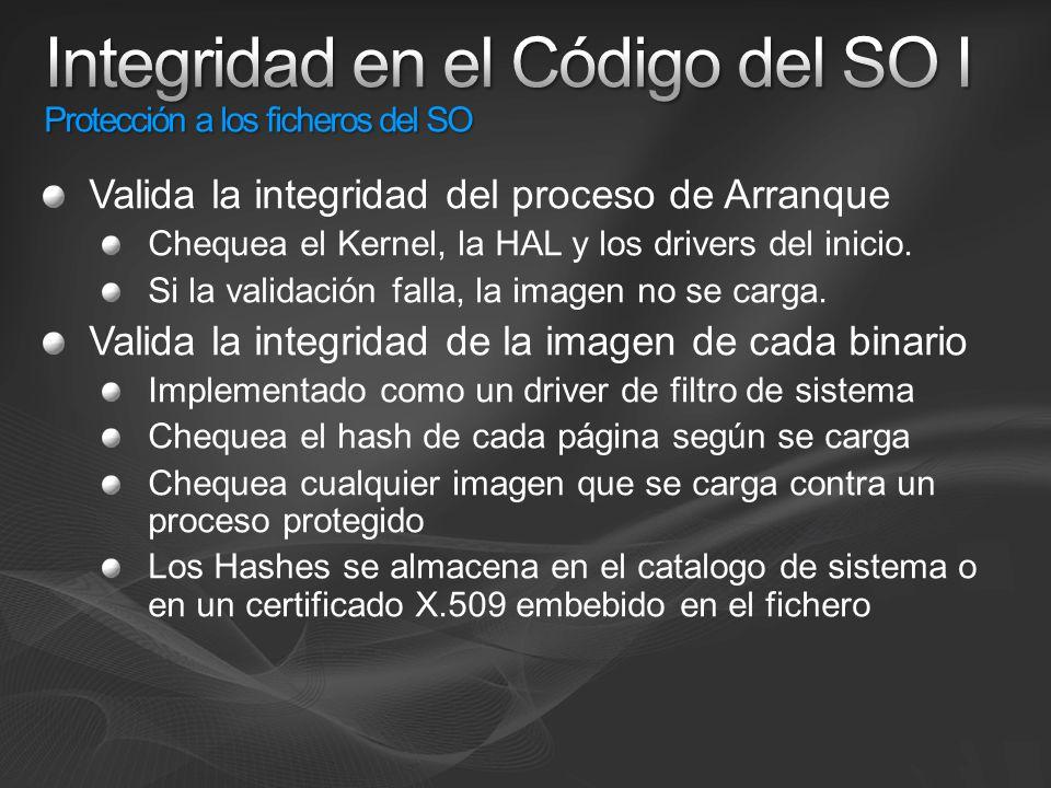 Integridad en el Código del SO I Protección a los ficheros del SO