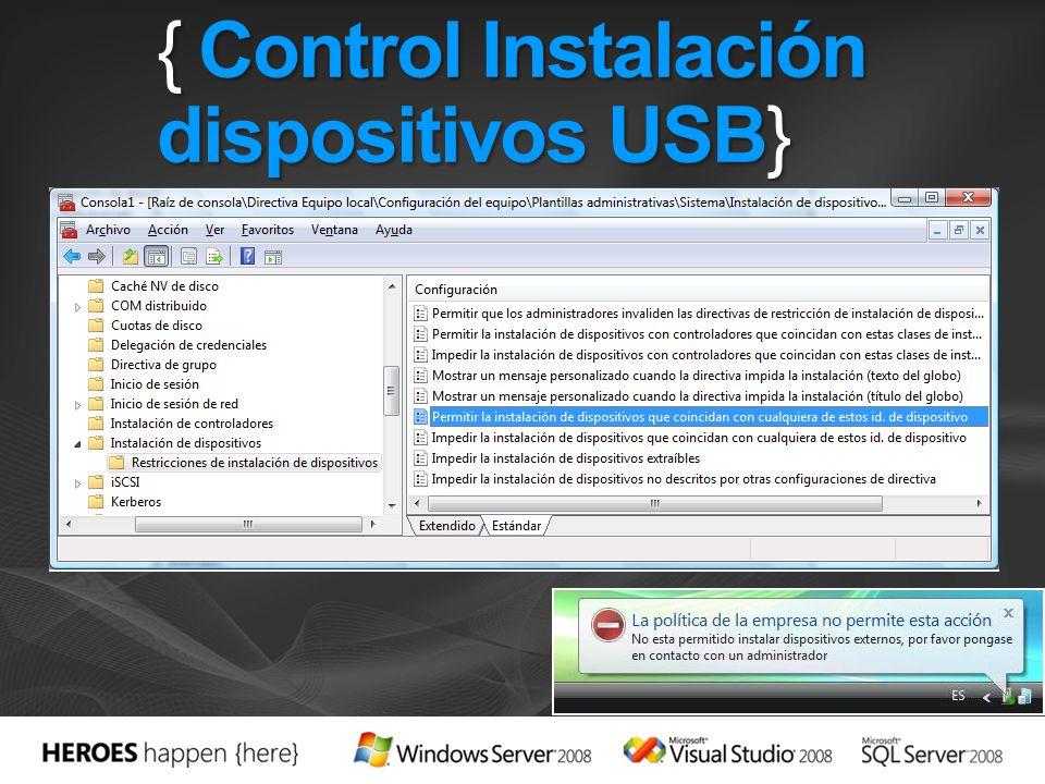 { Control Instalación dispositivos USB}
