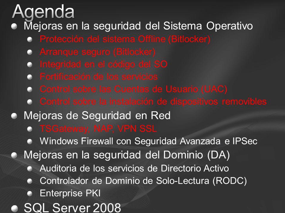Agenda SQL Server 2008 Mejoras en la seguridad del Sistema Operativo