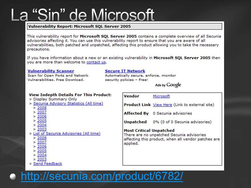La Sin de Microsoft http://secunia.com/product/6782/