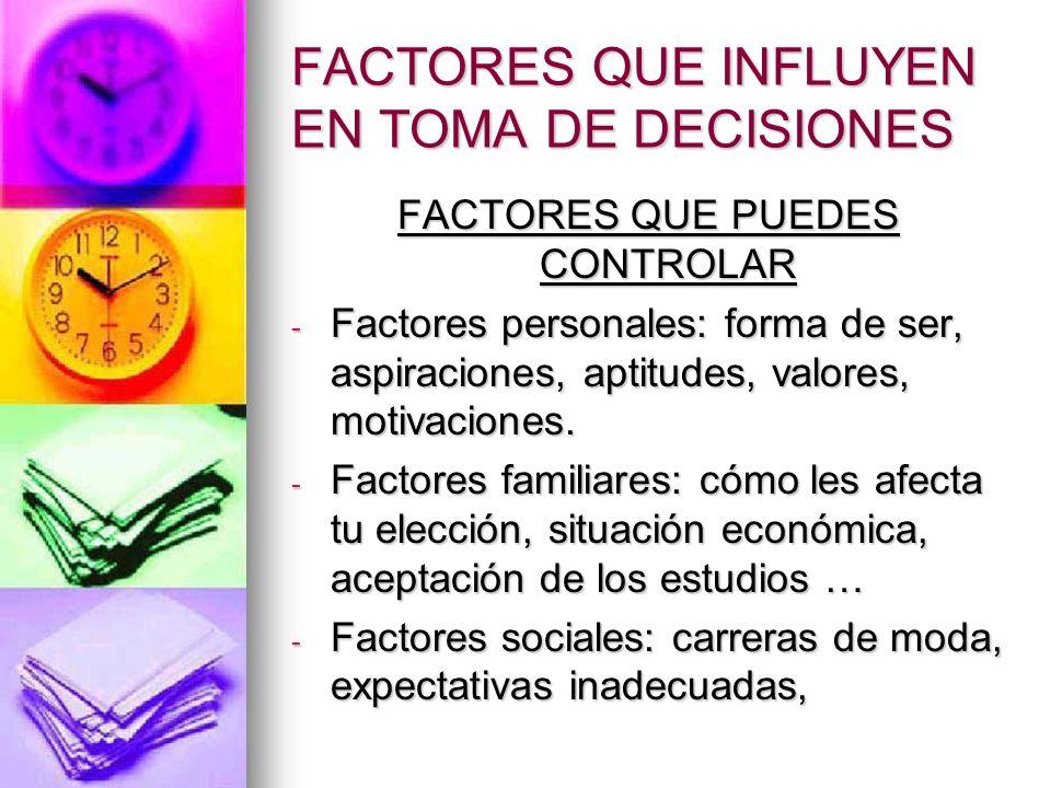 FACTORES QUE INFLUYEN EN TOMA DE DECISIONES