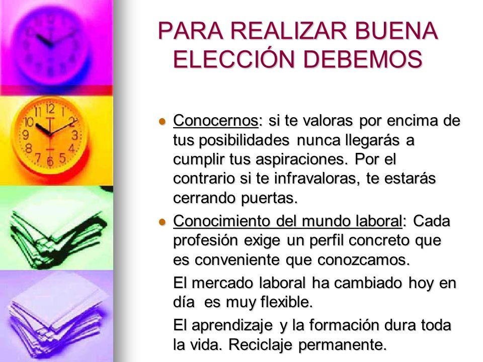 PARA REALIZAR BUENA ELECCIÓN DEBEMOS