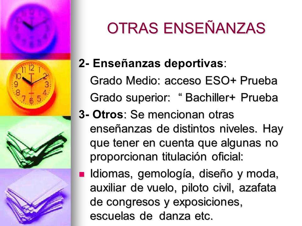 OTRAS ENSEÑANZAS 2- Enseñanzas deportivas: